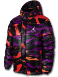 HJ096 メンズ ジョーダン 中綿ジャケット Jordan Jumpman Air Puffer Camo Jacket ボンバージャケット 黒紫インフラレッド【ルーズフィット】