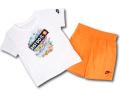 BY265 ベビー ナイキ Tシャツ&ショーツ セットアップ Nike Infant Set ベビー服 子供用 白ネオンオレンジ 【メール便対応】