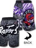 BN734 メンズ NBA トロント・ラプターズ 昇華プリント メッシュショーツ Mitchell & Ness Toronto Raptors Shorts ミッチェルアンドネス 黒白紫