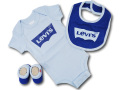 BH891 べビー リーバイス ロンパース3点セット Levi's Infant Set スタイ 靴下 ギフトセット 水色青【箱付き】
