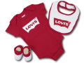 BH890 べビー リーバイス ロンパース3点セット Levi's Infant Set スタイ 靴下 ギフトセット 赤白【箱付き】
