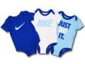 BT533 ベビー Nike ナイキ ロンパース 3枚セット 青白アイスブルー