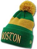 KN103  ニューエラ NBA ボストン・セルティックス ポンポン ニットキャップ New Era Boston Celtics Pon Beanie ビーニー ニット帽 緑ゴールド 【メール便対応】