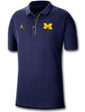 JP246 メンズ Jordan NCAA ミシガン大学 ウルヴァリンズ Michigan Wolverines Polo ジョーダン カレッジポロシャツ 紺黄色【ルーズフィット】