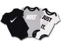 BT563 ベビー Nike ナイキ ロンパース 3枚セット 黒灰白