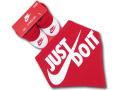 BA536 ベビー Nike Just Do It. ナイキ スタイ&ソックスシューズ セット 赤ちゃん よだれかけ 靴下 赤白