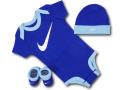 BH832 べビー Nike Infant Set ナイキ ロンパース3点セット 赤ちゃん ベビー服 ギフトセット 青水色白【箱付き】