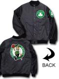 NJ346 メンズ Ultra Game NBA Boston Celtics Varsity Wool Jacket ウルトラゲーム ボストン・セルティックス 中綿ジャケット スタジャン アントラシート黒