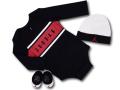 BH839 べビー Jordan Infant Set ジョーダン ロングスリーブロンパース 3点セット 赤ちゃん ベビー服 ギフトセット 黒白赤【箱付き】