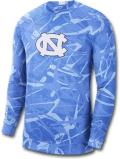 JN400 メンズ Jordan NCAA ノースカロライナ大学 ターヒールズ North Carolina Tar Heels ジョーダン カレッジ ロングスリーブ トレーニングシャツ 水色白 【ドライフィット】 【メール便対応】