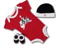 BH845 べビー Jordan Infant Set Jumpman Classics ジョーダン ロンパース 3点セット 赤ちゃん ベビー服 ギフトセット 赤黒白【箱付き】