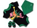 BH846 べビーJordan Infant Set Jumpman Classics ジョーダン ロンパース 3点セット 赤ちゃん ベビー服 ギフトセット 黒緑白【箱付き】