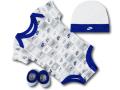BH851 べビー Nike Infant Set ナイキ ロンパース3点セット 赤ちゃん ベビー服 ギフトセット 白灰青【箱付き】