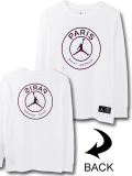 LL471 ジュニア Jordan x PSG Paris Saint-Germain Long Sleeve ジョーダン パリ・サンジェルマン ロングスリーブTシャツ キッズ 白ボルドー 【メール便対応】