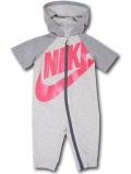 BY189 ベビー ナイキ フード付き カバーオール Nike Infant Coverall ベビー服 赤ちゃん 半袖 アイボリー灰ネオンピンク 【メール便対応】
