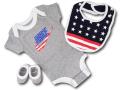 """BH852 べビー Nike Infant Set """"USA"""" ナイキ ロンパース3点セット 赤ちゃん ベビー服 ギフトセット 灰白赤 【箱付き】"""
