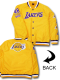 NJ359 メンズ UNK NBA Los Angeles Lakers Bomber Jacket アンク ロサンゼルス・レイカーズ 中綿ジャケット ボンバージャケット 黄色紫白