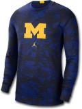 JN403 メンズ Jordan NCAA ミシガン大学 ウルヴァリンズ Michigan Wolverines ジョーダン カレッジ ロングスリーブ トレーニングシャツ 紺黒黄色 【ドライフィット】 【メール便対応】