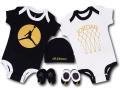 BH856 べビー Jordan Infant Set ジョーダン ロンパース 5点セット 赤ちゃん ベビー服 ギフトセット 黒白ゴールド【箱付き】