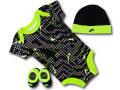 BH855 べビー Nike Infant Set ナイキ ロンパース3点セット 赤ちゃん ベビー服 ギフトセット 黒ネオングリーン【箱付き】