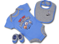 BH854 べビー Nike Infant Set ナイキ ロンパース3点セット 赤ちゃん ベビー服 ギフトセット 水色灰黒 【箱付き】