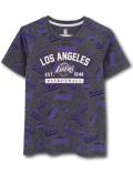 NK386 ジュニア UNK NBA Los Angeles Lakers アンク ロサンゼルス・レイカーズ Tシャツ キッズ ダークグレー白紫 【メール便対応】