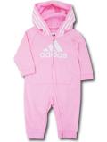 BO009 ベビー adidas Hooded Coverall Baby アディダス フード付きカバーオール ベビー服 赤ちゃん ピンク白 【メール便対応】