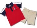 BO014 ベビー Tommy Hilfiger Infant Set トミー ヒルフィガー ポロシャツ&パンツ セットアップ ベビー服 子供用 赤ベージュ 【メール便対応】