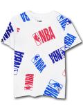 NK392 ジュニア NBA ロゴマン Tシャツ Logo Basketball Youth キッズ ユース トップス  白青赤 【メール便対応】
