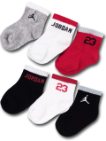 BA593 ベビー ジョーダン ソックス 6足セット Jordan Socks ベビー服 赤ちゃん 靴下 灰白赤黒 【メール便対応】