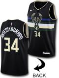 "KT088 キッズ Nike ""ヤニス・アデトクンポ"" NBA Antetokounmpo #34 Milwaukee Bucks Swingman Jersey ナイキ バックス スウィングマンジャージ 黒"
