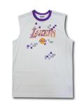 NB544 メンズ ジップウェイ NBA ロサンゼルス・レイカーズ トレーニング ノースリーブ Zipway Los Angeles Lakers 灰紫黄色 【メール便対応】