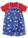 BO019 ベビー トミー ヒルフィガー Tシャツ&オーバーオール セットアップ Tommy Hilfiger Infant Set ベビー服 子供用 紺赤白