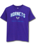 NK410 ジュニア NBA シャーロット・ホーネッツ Tシャツ Charlotte Hornets T-Shirt キッズ トップス 紫白ターコイズブルー 【メール便対応】