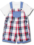 BO020 ベビー トミー ヒルフィガー Tシャツ&オーバーオール セットアップ Tommy Hilfiger Infant Set ベビー服 子供用 白紺赤
