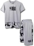 NK413 ジュニア NBA ロゴマン トレーニング Tシャツ&ショーツ セットアップ Basketball Logo Set Camo キッズ トップス バスパン 灰黒