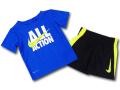 BY159 ベビー ナイキ トレーニング Tシャツ&ショーツ セットアップ Nike Infant Set ベビー服 子供用 青黒ネオングリーン【ドライフィット】 【メール便対応】