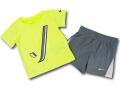 BY160 ベビー ナイキ トレーニング Tシャツ&ショーツ セットアップ Nike Infant Set ベビー服 子供用 ネオンイエローダークグレー【ドライフィット】 【メール便対応】