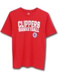 NK417 ジュニア NBA ロサンゼルス・クリッパーズ Tシャツ Los Angeles Clippers キッズ トップス 赤白 【メール便対応】