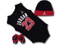 BH783 べビー ジョーダン ロンパース 3点セット Jordan Infant Set 赤ちゃん ベビー服 ギフトセット 黒赤白【箱付き】