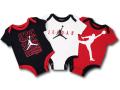 BT045 ベビー ジョーダン ロンパース 3枚セット Jordan Rompers 赤ちゃん ベビー服 黒白赤 【メール便対応】