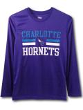 NK420 ジュニア NBA シャーロット・ホーネッツ ロングスリーブ トレーニングTシャツ Charlotte Hornets キッズ 長袖 紫ティール白 【メール便対応】