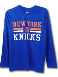 NK421 ジュニア NBA ニューヨーク・ニックス ロングスリーブ トレーニングTシャツ New York Knicks キッズ 長袖 青オレンジ白 【メール便対応】