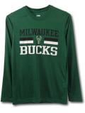 NK422 ジュニア NBA ミルウォーキー・バックス ロングスリーブ トレーニングTシャツ Milwaukee Bucks キッズ 長袖 モスグリーン黒白 【メール便対応】