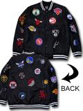 NJ362 メンズ NBA チームロゴ ボンバージャケット Ultra Game Bomber Jacket ウルトラゲーム 中綿ジャケット 黒白
