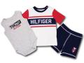 BO026 ベビー トミー ヒルフィガー セットアップ 3点セット Tommy Hilfiger Infant Set ベビー服 ロンパース Tシャツ パンツ 灰白紺 【メール便対応】