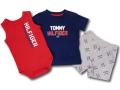 BO025 ベビー トミー ヒルフィガー セットアップ 3点セット Tommy Hilfiger Infant Set ベビー服 ロンパース Tシャツ パンツ 赤紺灰 【メール便対応】