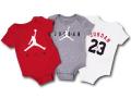 BT058 ベビー ジョーダン ロンパース 3枚セット Jordan Romper 赤ちゃん ベビー服 赤灰白 【メール便対応】