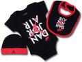 BH862 べビー ジョーダン ロンパース 3点セット Jordan Infant Set スタイ 帽子 ギフトセット 黒赤白【箱付き】