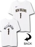 NK424 ジュニア ナイキ NBA ペリカンズ ザイオン・ウィリアムソン Tシャツ Nike Zion Williamson New Orleans Pelicans T-shirt キッズ ユース トップス 白紺ゴールド 【メール便対応】